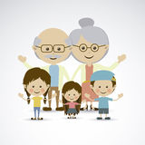 Grandparents. And grandchildren over gray background vector illustration Royalty Free Stock Image