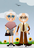 Grandparents cartoon Royalty Free Stock Photo