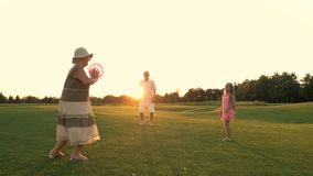 Grandparents and child having fun outdoors. stock footage