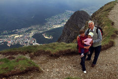 Grandparents and child hiking Royalty Free Stock Images