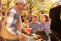 Grandparents With Children Enjoying Outdoor Barbecue Stock Images