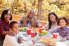 Grandparents With Children Enjoying Outdoor Meal Royalty Free Stock Image