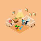 Grandparents With Children Home isometric Banner Royalty Free Stock Image