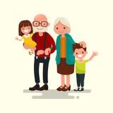 Grandparents com seus netos Ilustração do vetor Fotos de Stock Royalty Free