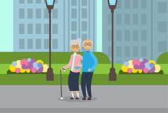 Grandparents couple, full length avatar over city park street lamp green lawn flowers cityscape template background flat. Vector illustration royalty free illustration