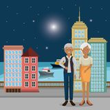 Grandparents couple outdoors characters. Vector illustration design vector illustration
