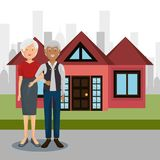 Grandparents couple outdoors characters. Vector illustration design royalty free illustration