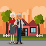 Grandparents couple outdoors characters. Vector illustration design stock illustration