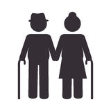 Grandparents Couple Silhouette Icon Royalty Free Stock Images