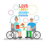 Grandparents Couple On Wheel Chair Happy Grandmother And Grandfather Day Greeting Card Banner Stock Photo