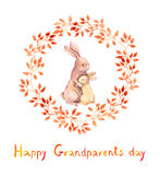 Grandparents day card. Grandma rabbit embrace her grandchild. Watercolor Stock Images