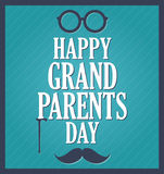 Grandparents Day greeting template. Blue background, dark blue frame Stock Photography