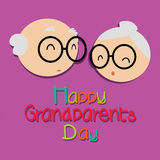 Grandparents day. Happy grandparents day with abstract grandparents faces on purple background stock illustration