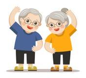 Grandparents doing exercises. royalty free illustration