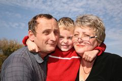 Grandparents e menino Foto de Stock Royalty Free