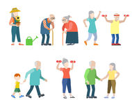 Grandparents flat vector set: old, grandfather, grandmother Stock Photo