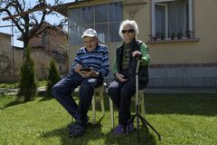 Grandparents Four Legs Walking Stick Together Royalty Free Stock Image
