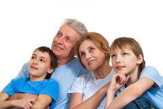 Grandparents with grandchildren. Happy bliss Caucasian grandparents with grandchildren fooled on a light background stock photography
