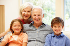 Grandparents and grandchildren royalty free stock photos