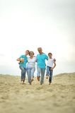 Grandparents with grandchildren on the beach. Happy grandparents with grandchildren on the beach royalty free stock photography