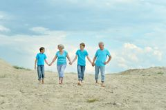 Grandparents with grandchildren on  beach Stock Photography