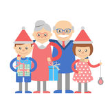 Grandparents and grandchildren with Christmas gifts Royalty Free Stock Images