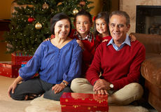Grandparents With Grandchildren By Christmas Tree Royalty Free Stock Images