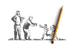 Grandparents, grandchildren, family, generation concept. Hand drawn isolated vector. vector illustration