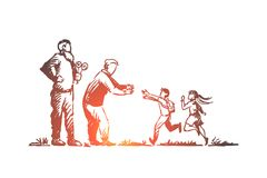 Grandparents, grandchildren, family, generation concept. Hand drawn isolated vector. Grandparents, grandchildren, family, generation concept. Hand drawn happy royalty free illustration