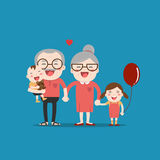 Grandparents and grandchildren Stock Images