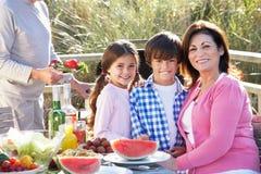 Grandparents And Grandchildren Having Outdoor Barbeque Stock Photography