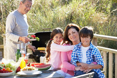 Grandparents And Grandchildren Having Outdoor Barbeque Royalty Free Stock Images