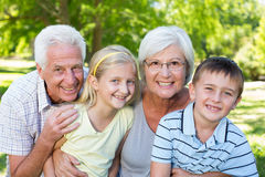 Grandparents and grandchildren in the park Royalty Free Stock Photography