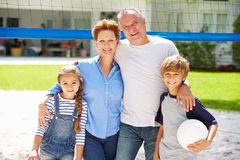 Grandparents And Grandchildren Playing Volleyball In Garden Royalty Free Stock Photo