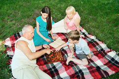 Grandparents and grandchildren are resting in the park. top view Royalty Free Stock Images