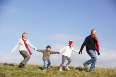 Grandparents And Grandchildren Running Royalty Free Stock Images