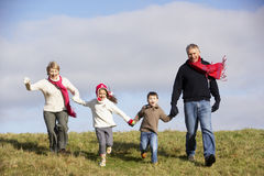 Grandparents And Grandchildren Running. In The Park Royalty Free Stock Photo