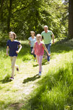 Grandparents With Grandchildren Running Through Countryside Royalty Free Stock Photography