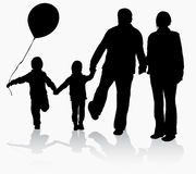 Grandparents with grandchildren silhouettes Royalty Free Stock Images