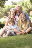 Grandparents And Grandchildren Sitting In Park Together stock photography
