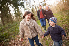 Grandparents With Grandchildren On Walk In Countryside royalty free stock images