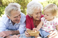 Grandparents And Granddaughter Enjoying Picnic Together Royalty Free Stock Images