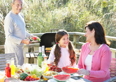Grandparents And Granddaughter Having Outdoor Barbeque Stock Photography