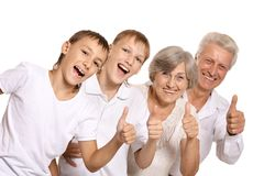 Grandparents with grandkids Stock Photo