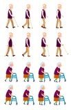 Grandparents Grandpa and Grandma Set. Old people banner with grandpa holding walking stick and grandma with helping walkers process of movement vector vector illustration