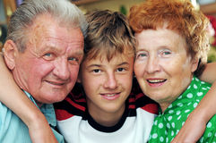 Grandparents with grandson Stock Photo