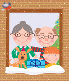 Grandparents and grandson in the christmas Stock Photography