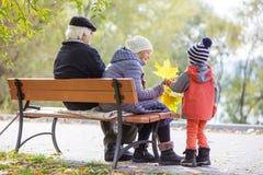 Grandparents and grandson enjoying beautiful autumn day Royalty Free Stock Image