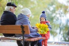 Grandparents and grandson enjoying beautiful autumn day Royalty Free Stock Photo