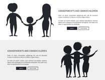 Grandparents and Grandson Little and Grown up Set. Of web posters black silhouettes. Senior couple walking with grandchild boy holding hands vector Royalty Free Stock Photography